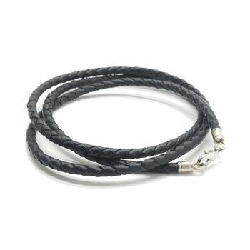 Шнурок плетеный кожаный черный