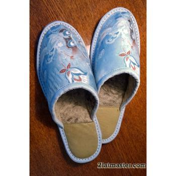 Тапочки войлочные голубые