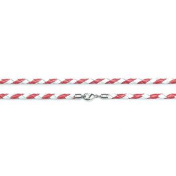 Шнурок кожаный  плетеный красно-белый